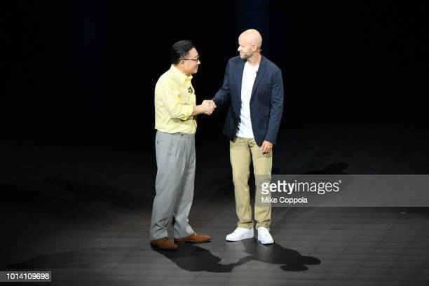 Samsung President CEO DJ Koh and Spotify CEO Daniel Ekspeak onstage during Samsung Unpacked New York City at Barclays Center on August 9 2018 in...