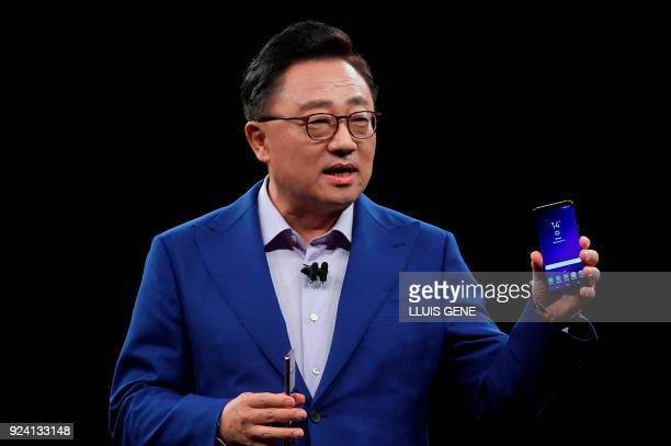 Samsung president of mobile communications business DJ Koh presents the new Samsung Galaxy S9 mobilephone during the Samsung Galaxy S9 Unpacked event...