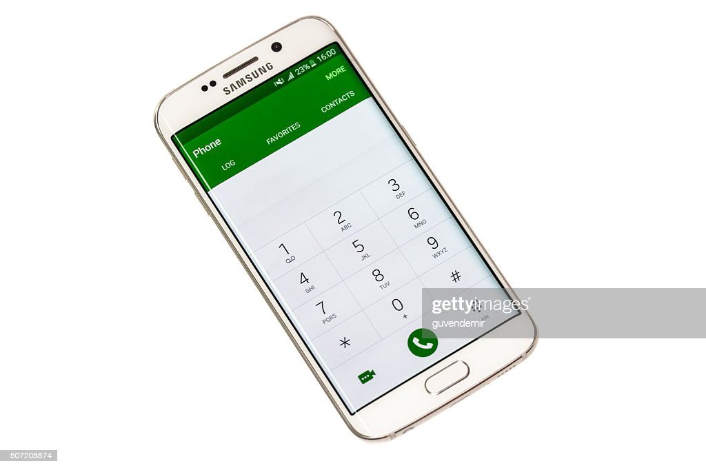 Samsung S6 Edge White Pearl With Clipping Path Stock Photo