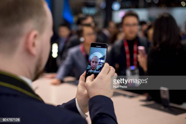 SAmsung S9 smartphone Thousands of people participate in the Mobile World Congress 2018 in Barcelona Spain from February 26 to March 1 2018