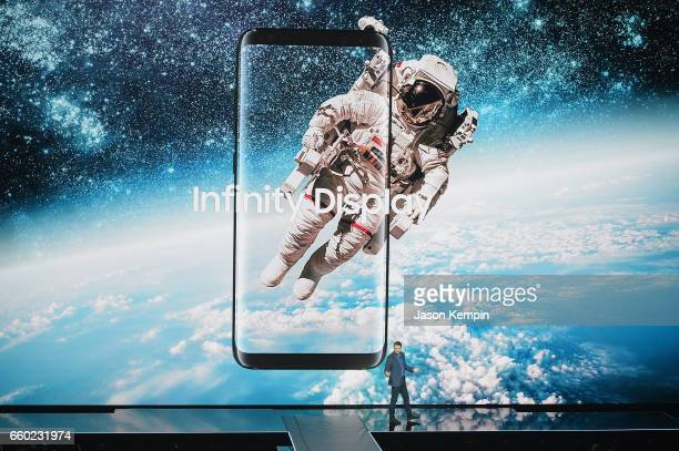 Samsung Senior Vice President of Product Strategy Justin Denison unveils the Samsung Galaxy S8 and S8 during Samsung Unpacked at David Geffen Hall on...