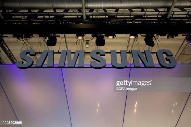 L´HOSPITALET CATALONIA SPAIN Samsung South Korea brand logo seen during the Mobile World Congress 2019 in Barcelona