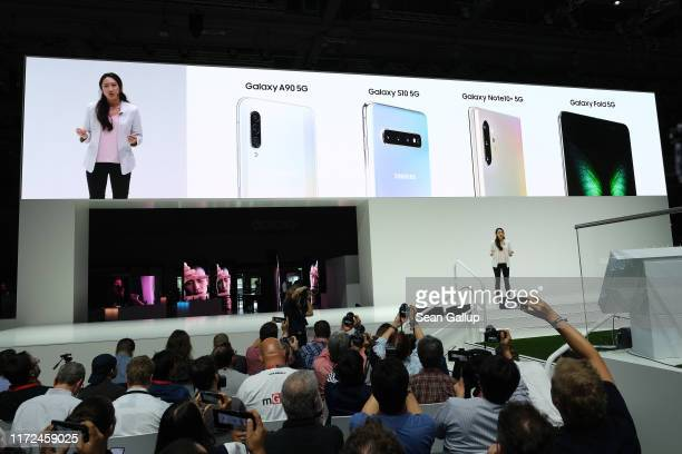 Samsung spokeswoman Nicole Ng announces 5G compatible products at the Samsung press conference at the 2019 IFA home electronics and appliances trade...