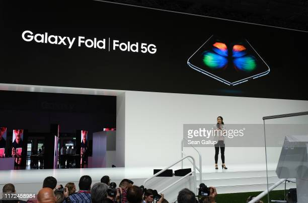 Samsung spokeswoman Nicole Ng announces 5G compatible products including the Galaxy Fold 5G at the Samsung press conference at the 2019 IFA home...