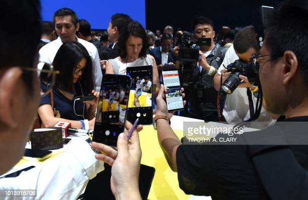 Samsung unveils the Galaxy Note 9 during an Unpacked event at the Barclays Center in the New York City borough of Brooklyn August 9 2018
