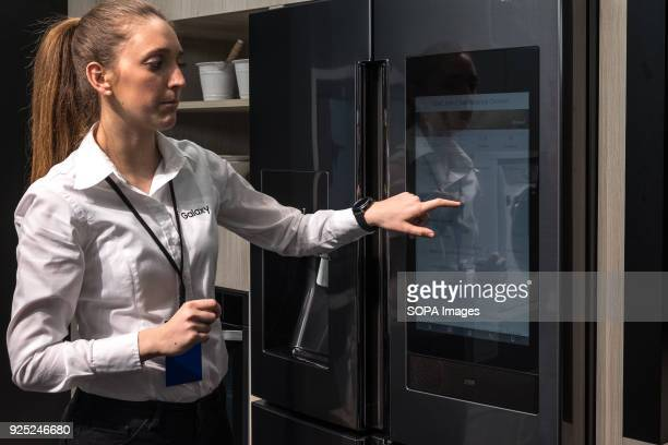 Samsung unveils the new intelligent digital control panel refrigerator The Mobile World Congress held in Barcelona Spain since 2006 and will be held...