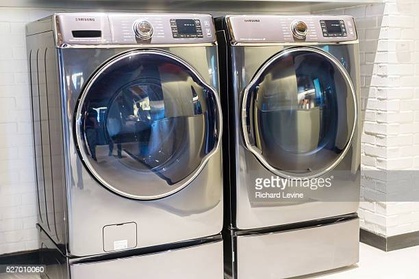 Samsung washing macines in the Samsung 837 showroom in the Meatpacking District in New York, seen on Saturday, February 27, 2016. The showroom in the...