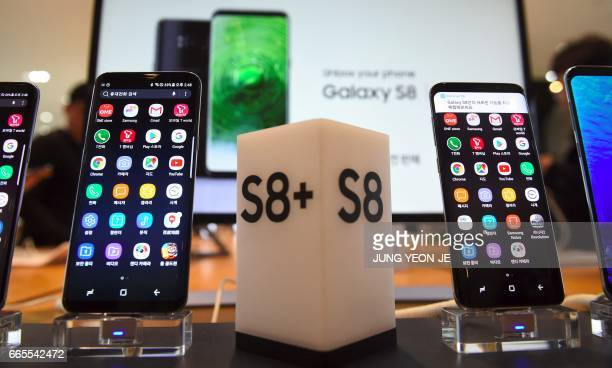 Samsung's new smartphone Galaxy S8 and S8 are displayed at a Samsung showroom in Seoul on April 7 2017 Samsung Electronics said on April 7 it expects...
