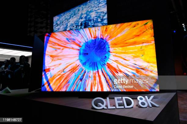 Samsung's Q900 8K QLED television is displayed at the Samsung booth during CES 2020 at the Las Vegas Convention Center on January 7, 2020 in Las...
