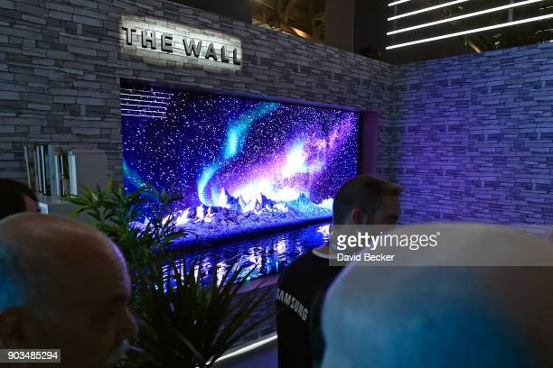 Samsung's The Wall a 146inch MicroLED television is displayed at the Samsung booth during CES 2018 at the Las Vegas Convention Center on January 10...