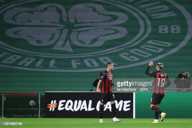 Samu Castillejo Azuaga of AC Milan celebrates after scoring his sides first goal with Theo Hernández of AC Milan during the UEFA Europa League Group...