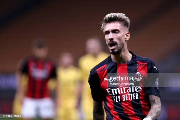 Samu Castillejo of Ac Milan during the UEFA Europa League third qualifying round match between Ac Milan and Fotballklubben Bodo/Glimt Ac Milan wins...