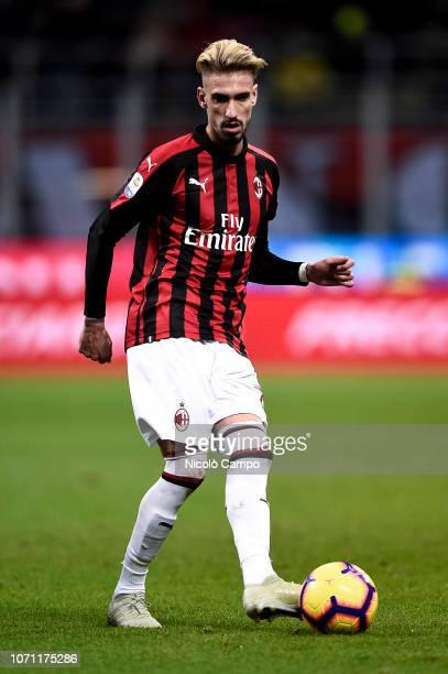 Samu Castillejo of AC Milan in action during the Serie A football match between AC Milan and Torino FC The match ended in a 00 tie