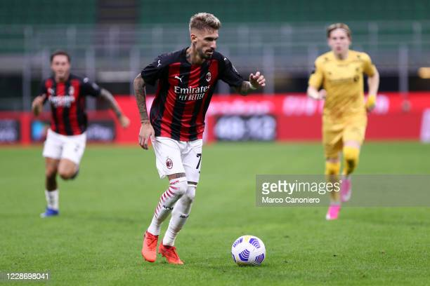 Samu Castillejo of Ac Milan in action during the UEFA Europa League third qualifying round match between Ac Milan and Fotballklubben Bodo/Glimt Ac...