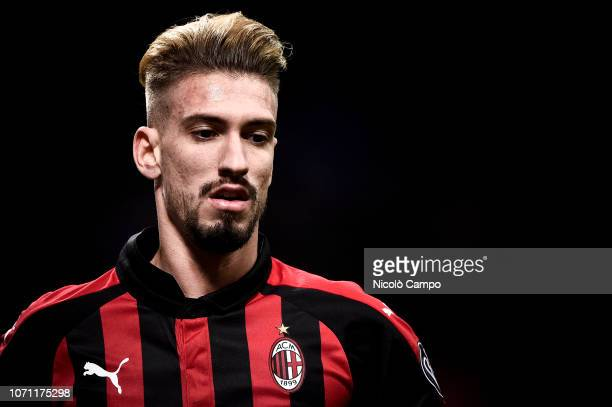 Samu Castillejo of AC Milan looks on during the Serie A football match between AC Milan and Torino FC The match ended in a 00 tie