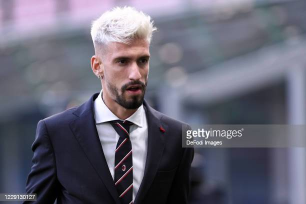 Samu Castillejo of AC Milan looks on prior to the Serie A match between FC Internazionale and AC Milan at Stadio Giuseppe Meazza on October 17 2020...