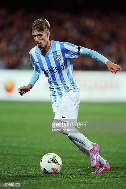 Samu Castillejo of Malaga runs with the ball during the international club friendly match between Adelaide United and Malaga CF at Adelaide Oval on...