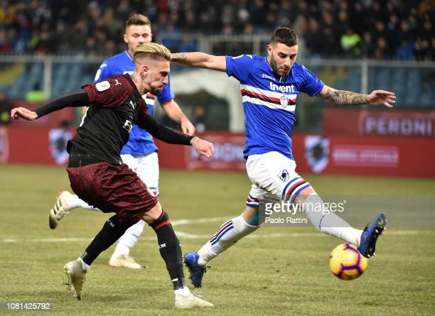 Samu Castillejo of Milan and Nicola Murru of Sampdoria during the Coppa Italia match between UC Sampdoria and AC Milan at Stadio Luigi Ferraris on...
