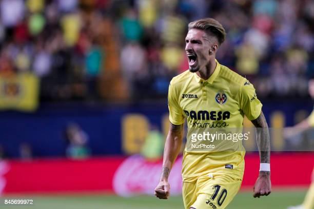 10 Samu Castillejo of Villarreal CF celebrate after scoring the 21 goal during spanish La Liga match between Villarreal CF and Real Betis Balompie at...