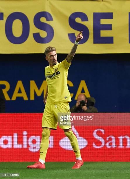 Samu Castillejo of Villarreal CF celebrates a goal during the La Liga match between Villarreal CF and Levante Union Deportiva at Estadio de la...