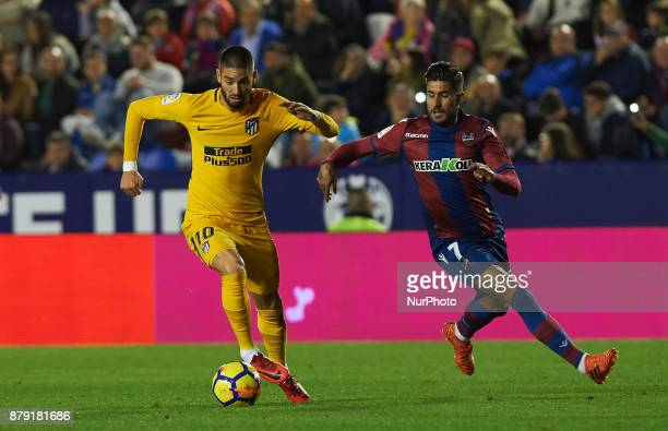 Samu Garcia of Levante UD and Yannick Ferreira Carrasco of Club Atletico de Madrid in action during the La Liga match between Levante UD and Club...