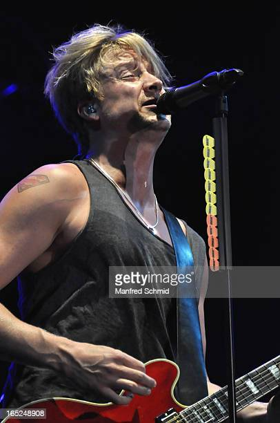 Samu Haber of Sunrise Avenue performs on stage during the Donauinselfest Wien on June 24 2012 in Vienna Austria