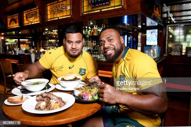 Samu Kerevi and Taniela Tupou enjoy some traditional Irish food during a Wallabies media opportunity to promote the upcoming Rugby Test series...