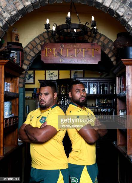 Samu Kerevi and Taniela Tupou pose for a photo during a Wallabies media opportunity to promote the upcoming Rugby Test series between Australia and...
