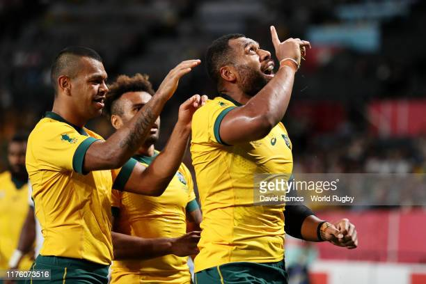 Samu Kerevi of Australia celebrates scoring his side's fifth try during the Rugby World Cup 2019 Group D game between Australia and Fiji at Sapporo...