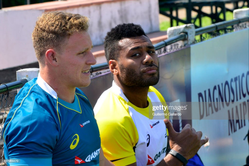 Samu Kerevi of Australia gestures next to his teammate Reece Hodge during the Australia Team Announcement and Training Session ahead of the match against Argentina at San Isidro Club on October 05, 2017 in Buenos Aires, Argentina.