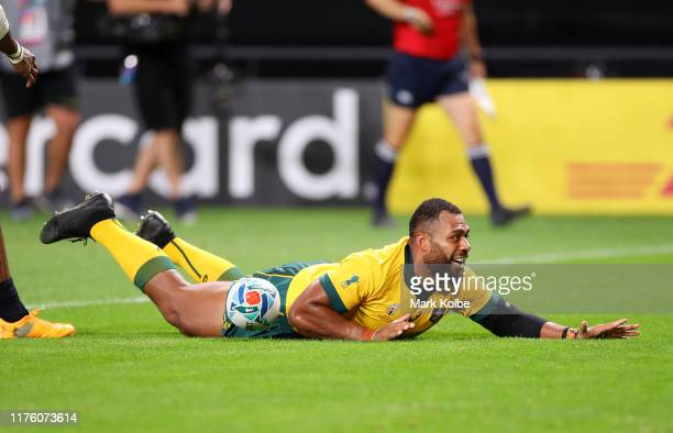 Samu Kerevi of Australia scores his side's fifth try during the Rugby World Cup 2019 Group D game between Australia and Fiji at Sapporo Dome on...