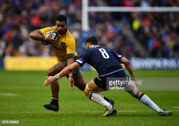 Samu Kerevi of Australia takes on Ryan Wilson of Scotland during the International match between Scotland and Australia at Murrayfield Stadium on...
