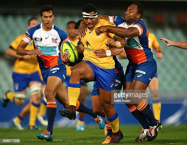 Samu Kerevi of Brisbane runs the ball during the round seven National Rugby Championship match between the Greater Sydney Rams and Brisbane City at...