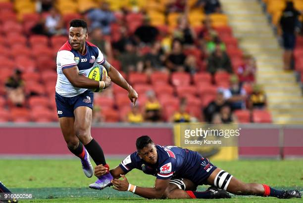 Samu Kerevi of the Reds breaks away from the defence during the 2018 Global Tens match between the Queensland Reds and the Melbourne Rebels at...