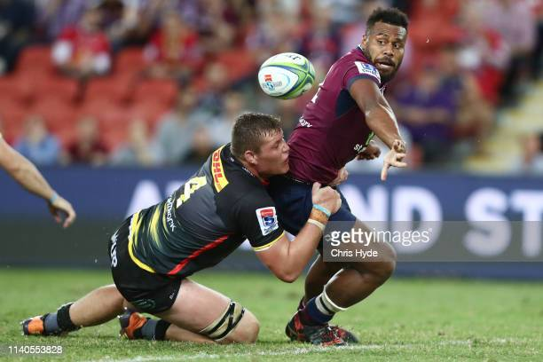 Samu Kerevi of the Reds is tackled by Cobus Wiese of the Stormers during the round eight Super Rugby match between the Reds and the Stormers at...