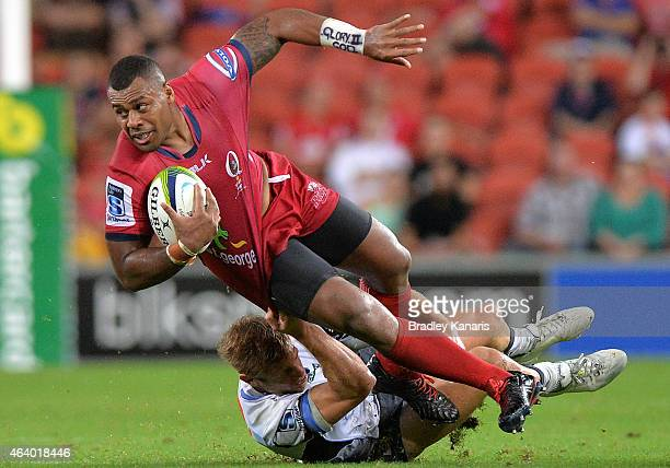 Samu Kerevi of the Reds is tackled during the round two Super Rugby match between the Reds and the Force at Suncorp Stadium on February 21, 2015 in...