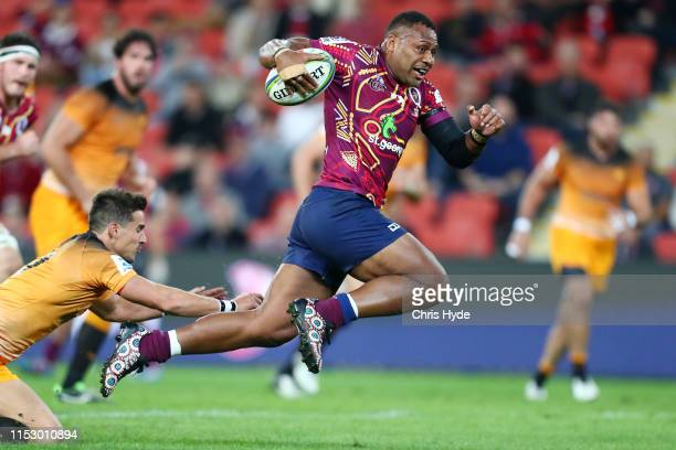 Samu Kerevi of the Reds makes a break during the round 16 Super Rugby match between the Reds and the Jaguares at Suncorp Stadium on June 01 2019 in...