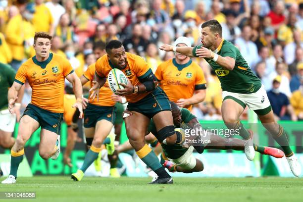 Samu Kerevi of the Wallabies makes a break during The Rugby Championship match between the Australian Wallabies and the South Africa Springboks at...