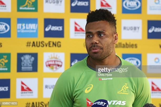 Samu Kerevi speaks to media during an Australian Wallabies media opportunity at Ballymore Stadium on June 9 2016 in Brisbane Australia