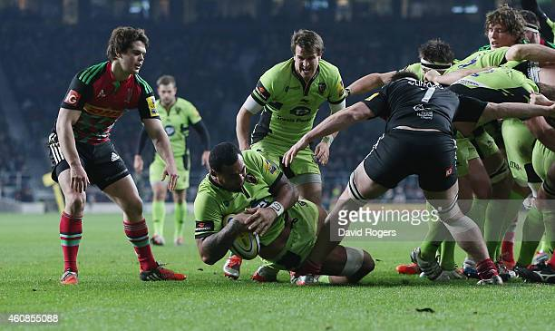 Samu Manoa of Northampton dives over for a try during the Aviva Premiership match between Harlequins and Northampton Saints at Twickenham Stadium on...