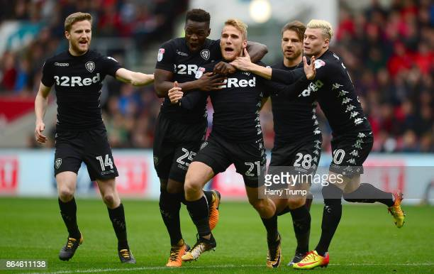 Samu Saiz of Leeds United celebrates his sides first goal with team mates during the Sky Bet Championship match between Bristol City and Leeds United...