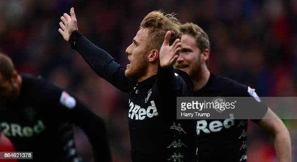 Samu Saiz of Leeds United celebrates his sides second goal with team mates during the Sky Bet Championship match between Bristol City and Leeds...