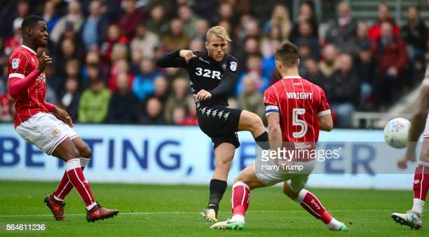 Samu Saiz of Leeds United scores his sides first goal during the Sky Bet Championship match between Bristol City and Leeds United at Ashton Gate on...