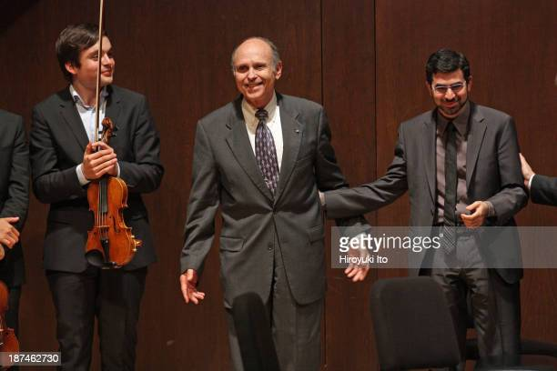Samuel Adler 85th Birthday Tribute at Paul Hall at the Juilliard School on Monday night October 28 2013This imageSamuel Adler center with the...