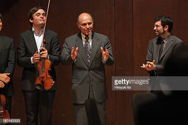 Samuel Adler 85th Birthday Tribute at Paul Hall at the Juilliard School on Monday night, October 28, 2013.This image:Samuel Adler, center, with the...