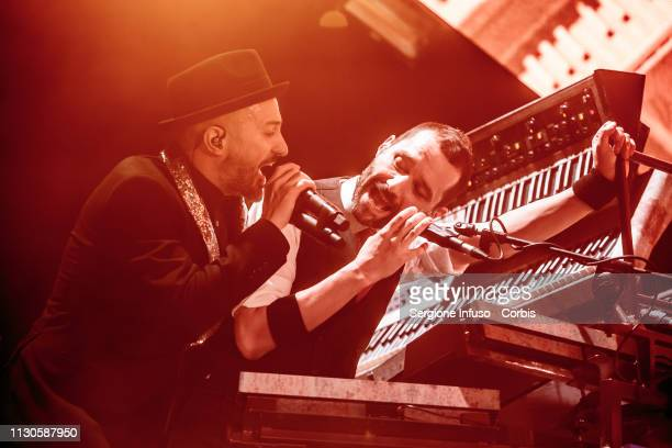 Samuel and Boosta of Subsonica perform on stage at Mediolanum Forum on February 18, 2019 in Milan, Italy.