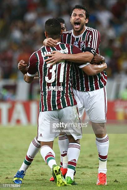 Samuel and Fred of Fluminense celebrate a scored goal during a match between Fluminense and Goias as part of Brazilian Cup 2013 at Maracana Stadium...