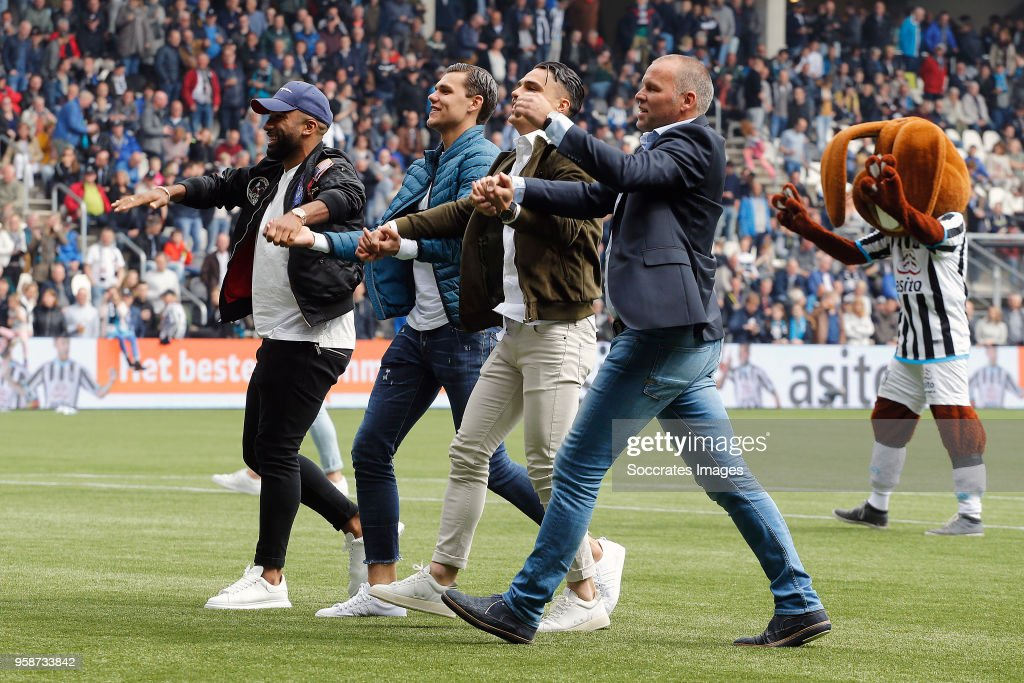 Samuel Armenteros, Justin Hoogma, Joey Pelupessy, Nico Jan Hoogma during the Dutch Eredivisie match between Heracles Almelo v FC Utrecht at the Polman Stadium on April 29, 2018 in Almelo Netherlands