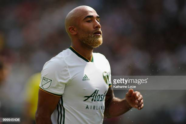 Samuel Armenteros of the Portland Timbers walks on the field at Banc of California Stadium on July 15 2018 in Los Angeles California