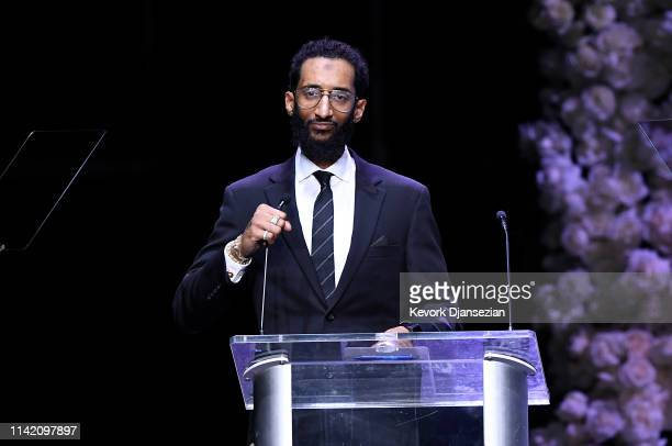 Samuel Asghedom speaks onstage during Nipsey Hussle's Celebration of Life at STAPLES Center on April 11 2019 in Los Angeles California Nipsey Hussle...